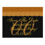 00th Any Year Save the Date Birthday Gold Lace Postcard