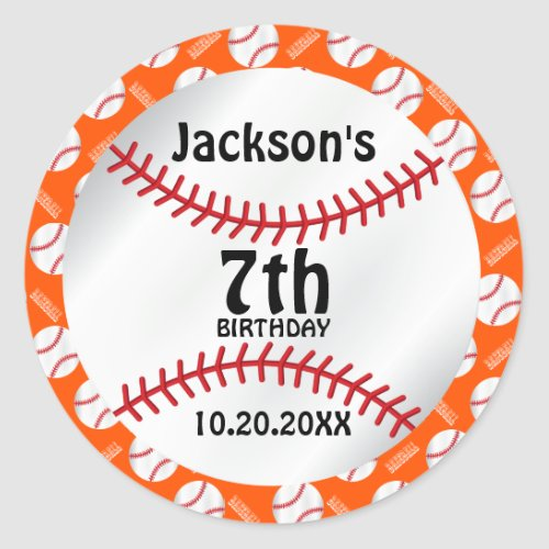 00th Baseball Birthday _ DIY Background Color Classic Round Sticker