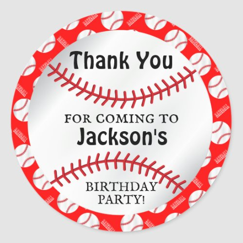 00th Baseball Birthday  _ Thank You Classic Round Sticker