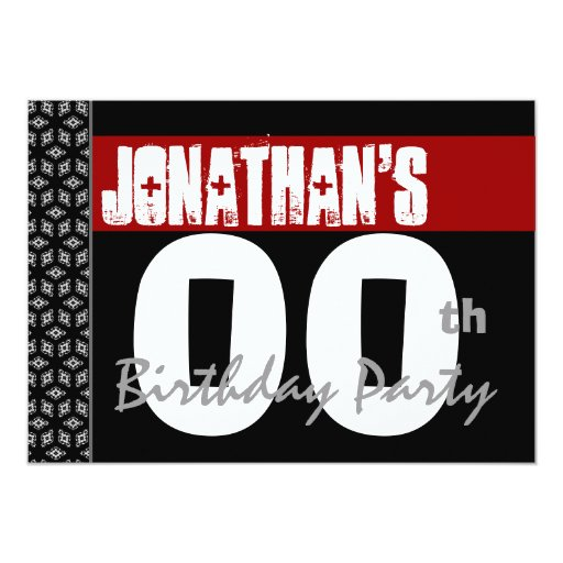 00th Birthday Party Modern Red Black White W1982 5x7 Paper Invitation Card