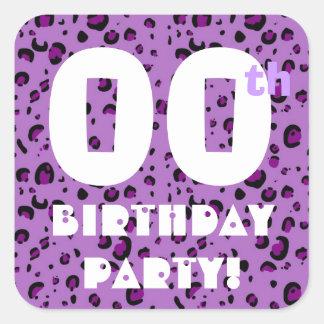 00th Custom Year Birthday Sticker Purple Confetti