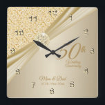 """00th Gold Diamond Wedding Anniversary Keepsake Square Wall Clock<br><div class=""""desc"""">⭐⭐⭐⭐⭐ 5 Star Review. Featuring an elegant gold designed Anniversary Clock ready for you to personalize. This Gold Diamond Wedding Anniversary keepsake makes a wonderful gift for that special couple. ⭐This Product is 100% Customizable. Graphics and / or text can be added, deleted, moved, resized, changed around, rotated, etc... 99%...</div>"""