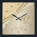 "00th Gold Diamond Wedding Anniversary Keepsake Square Wall Clock<br><div class=""desc"">⭐⭐⭐⭐⭐ 5 Star Review. Featuring an elegant gold designed Anniversary Clock ready for you to personalize. This Gold Diamond Wedding Anniversary keepsake makes a wonderful gift for that special couple. ⭐This Product is 100% Customizable. Graphics and / or text can be added, deleted, moved, resized, changed around, rotated, etc... 99%...</div>"