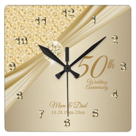 00th Gold Diamond Wedding Anniversary Keepsake Square Wall Clock