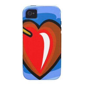 00VDH RED CARTOON HEART ARROW BLUE RIPPLES LOVE FL Case-Mate iPhone 4 COVERS