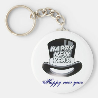 014-88532S_large, Feliz Año Nuevo Llavero Redondo Tipo Pin
