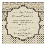 01 Brown Tan Cream Damask Dots Post Wedding Personalized Announcements