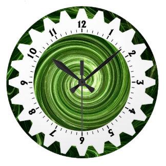 01 dentados - Remolino verde Reloj Redondo Grande