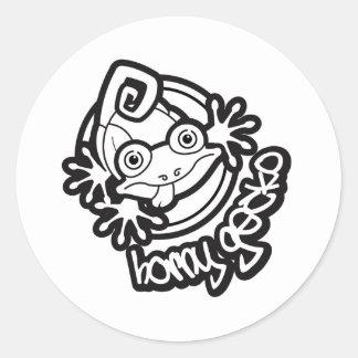 01 Horny Gecko Logo b/w Classic Round Sticker