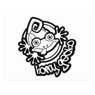 01 Horny Gecko Logo b/w Postcard