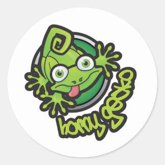 01 Horny Gecko Logo colour Classic Round Sticker