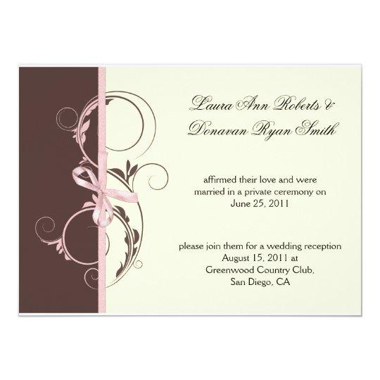 01 Pink Brown Cream Floral Swirls Post Weddi Card