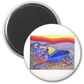 01 Snowmobile color by Piliero 2 Inch Round Magnet