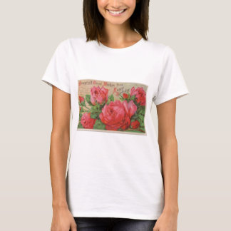 01 vintage happy birthday roses postcard_free vint T-Shirt