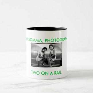 01a5new_600dpi, TWO ON A RAIL, HANK SOMMA, PHOT... Two-Tone Coffee Mug