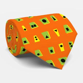 020216 - Green, Yellow and Black on Orange FF6600 Tie