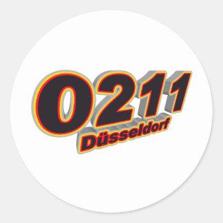 0211 Duesseldorf Pegatina Redonda