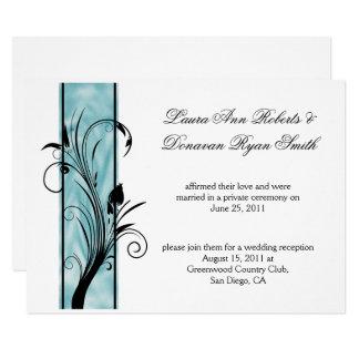 02 Black Floral Swirls Teal Stripe Post Wedding Invitation