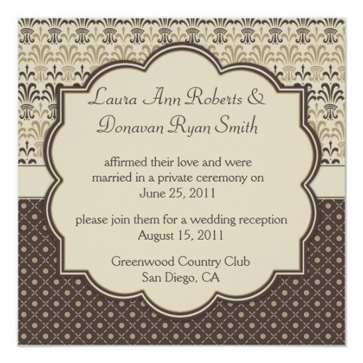 02 Brown Tan Cream Damask Dots Post Wedding Personalized Invite