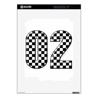02 checkered auto racing number iPad 2 skins