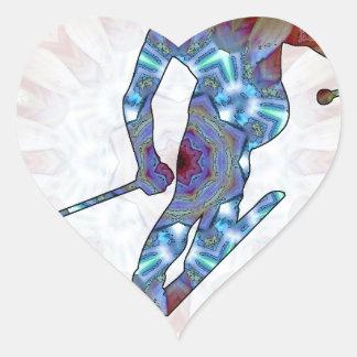 02 de esquí pegatina en forma de corazón