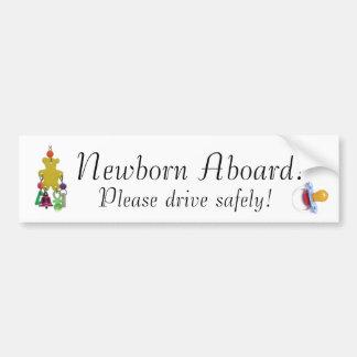 0301_tn, pacifier, Newborn Aboard!, Please driv... Bumper Sticker