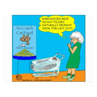 036 ningún dibujo animado de la comida para gatos postal