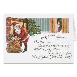037 Vintage Christmas Card Santa Claus Gifts Boy