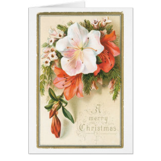 038 Vintage Christmas Card White Red Pink Flowers