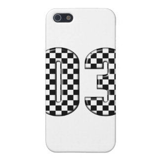 03 checkered auto racing number case for iPhone SE/5/5s