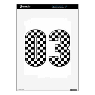 03 checkered auto racing number decal for the iPad 2