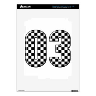 03 checkered auto racing number decals for iPad 3