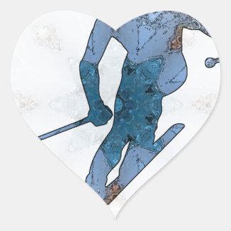03 de esquí pegatina en forma de corazón