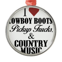03 I heart cowboy boots Metal Ornament