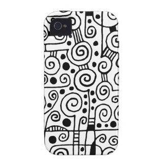 040512 - Negro en blanco iPhone 4/4S Fundas