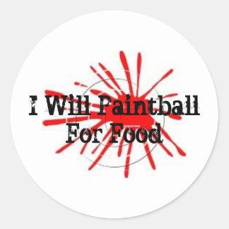 0409026, Paintball para la comida Pegatina Redonda