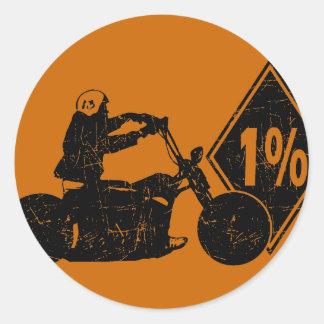 0413032011 Biker 1% Distress (Biker) Round Stickers
