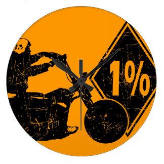 0413032011 Biker 1% Distress Round Wall Clocks