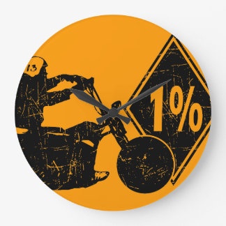 0413032011 Biker 1% Distress Large Clock