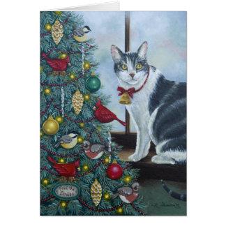 0417 Cat & Christmas Tree Birthday Card