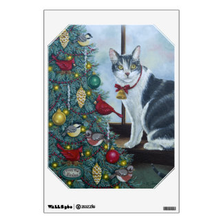 0417 Cat & Christmas Tree Wall Decal