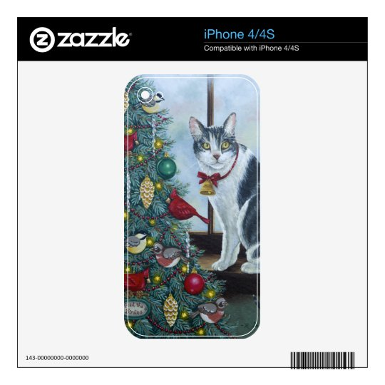 0417 Christmas Cat Decal For The iPhone 4S