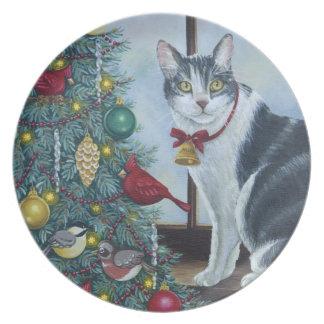 0417 Christmas Cat Plate
