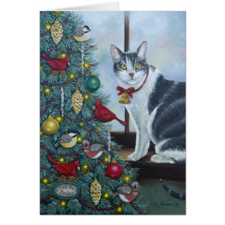 0417 gato y tarjeta de cumpleaños del árbol de