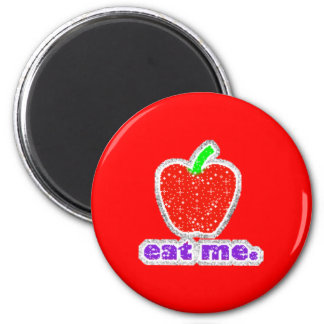 042 Red Apple cartoon glitter graphics insults 2 Inch Round Magnet