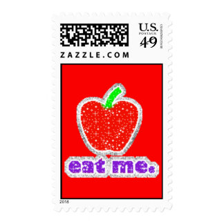 042 Red Apple cartoon glitter graphics insults Stamps