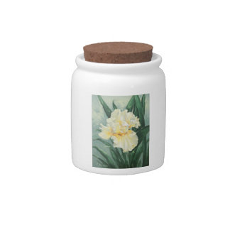 0434 Cream Iris Cannister Candy Dishes
