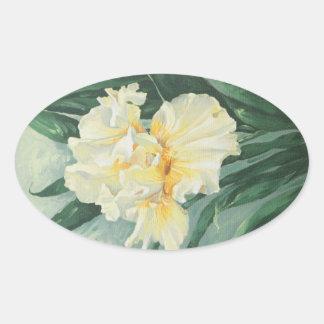 0434 Cream Iris Oval Sticker