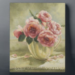 """0437 English Roses in Pitcher Plaque<br><div class=""""desc"""">From an original acrylic painting by Ruth Garrison.</div>"""