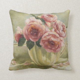 0437 English Roses in Pitcher Throw Pillow